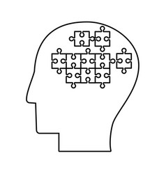 human head puzzle creative outline vector image