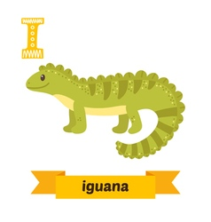 Iguana I letter Cute children animal alphabet in vector