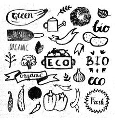 Ink logotypes set Badges labelsleavesribbons vector image