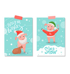 let it snow and warm wishes postcards pig animal vector image