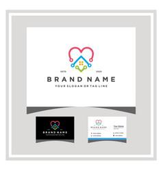Love home tech logo design with a business card vector
