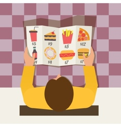 Lunch time Man ordering meal in fast food cafe vector image