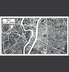 Lyon france city map in retro style outline map vector
