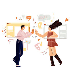 man and woman chatting online having remote video vector image