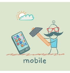 man hammers on mobile vector image