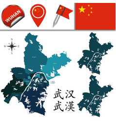 Map wuhan with divisions vector