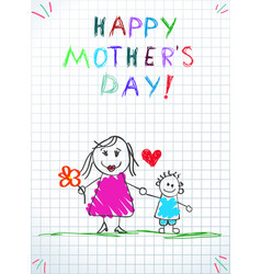 mom holding hands with little son badrawing vector image