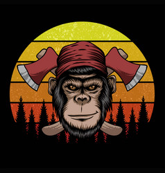 monkey lumberjack retro vector image