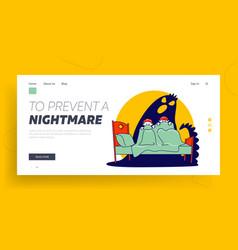 Nightmare terrified phobia website landing page vector