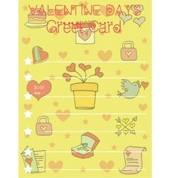On yellow background greeting card valentine vector