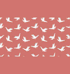 origami bird seamless patternon red background vector image vector image