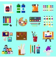 Painting icons flat set of graphic arts vector image