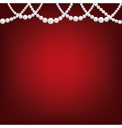 Pearl necklace on red vector