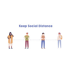 people keeping social distance colorful vector image