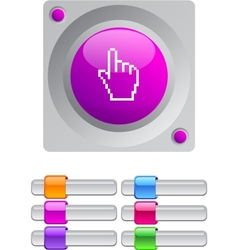 Pixel hand color round button vector image