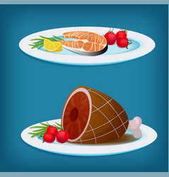 plates with grilled fish meat and vegetables vector image
