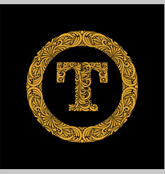 premium elegant capital letter t in a round frame vector image