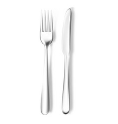 Realistic fork and knife mockup vector