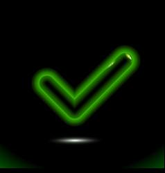 realistic green backlit glass checkmark icon tick vector image