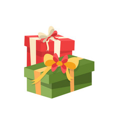 red and green packages boxes decorated by tape vector image