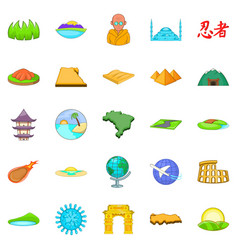Relocation icons set cartoon style vector