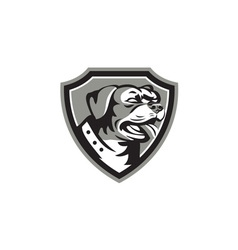 Rottweiler Guard Dog Shield Black and White vector