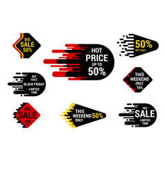 Sale sticker set with hand drawn elements in vector