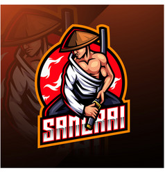 Samurai esport mascot logo design vector