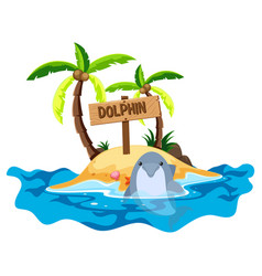 scene with dolphin and island vector image