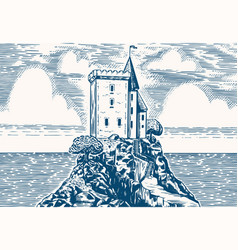 Scenic view vintage fortress on a hill on a vector