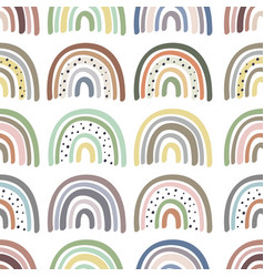 seamless pattern with multicolor pastel rainbows vector image