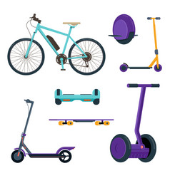 Set electric personal transportation devices vector