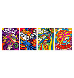 Set four bright psychedelic love posters vector