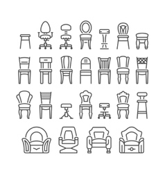 Set line icons of chair vector image