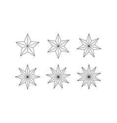 Set of edged faceted stars vector