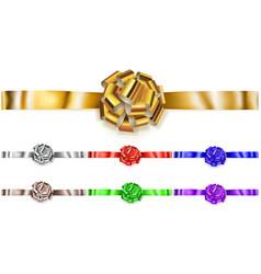 Set of horizontal big bows of shiny ribbons vector