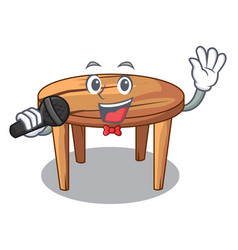 Singing cartoon wooden dining table in kitchen vector