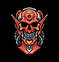 skull robot head vector image