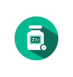 Sleeping pills icon with shadow on a green circle vector