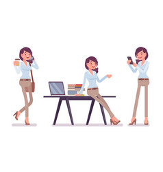 Smart casual woman in office vector