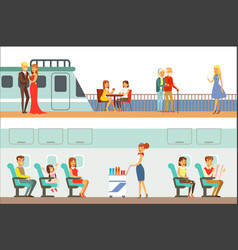smiling people taking different transport metro vector image
