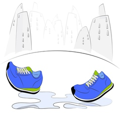 Sneakers walking through puddles in the city vector image
