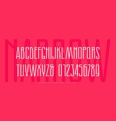 Stock narrow sans serif font with inner contour vector