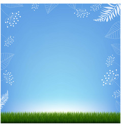Summer banner with floral element and grass vector