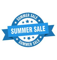 summer sale ribbon summer sale round blue sign vector image