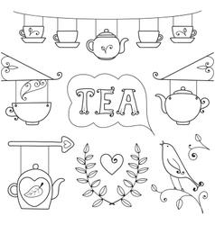 Tea card Set of elements for design vector
