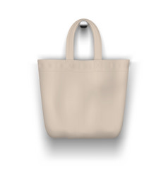 textile beige tote bag hanging on wall vector image