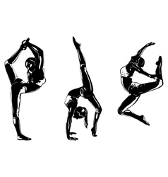 Three sports women silhouettes vector image