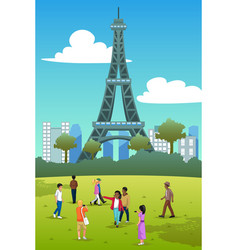 tourists in eiffel tower france vector image