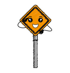 Traffic signal kawaii character vector